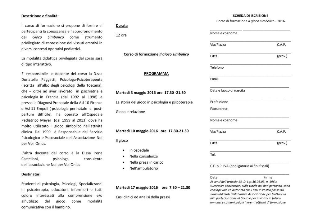 Finalità, Programma e Scheda di Iscrizione