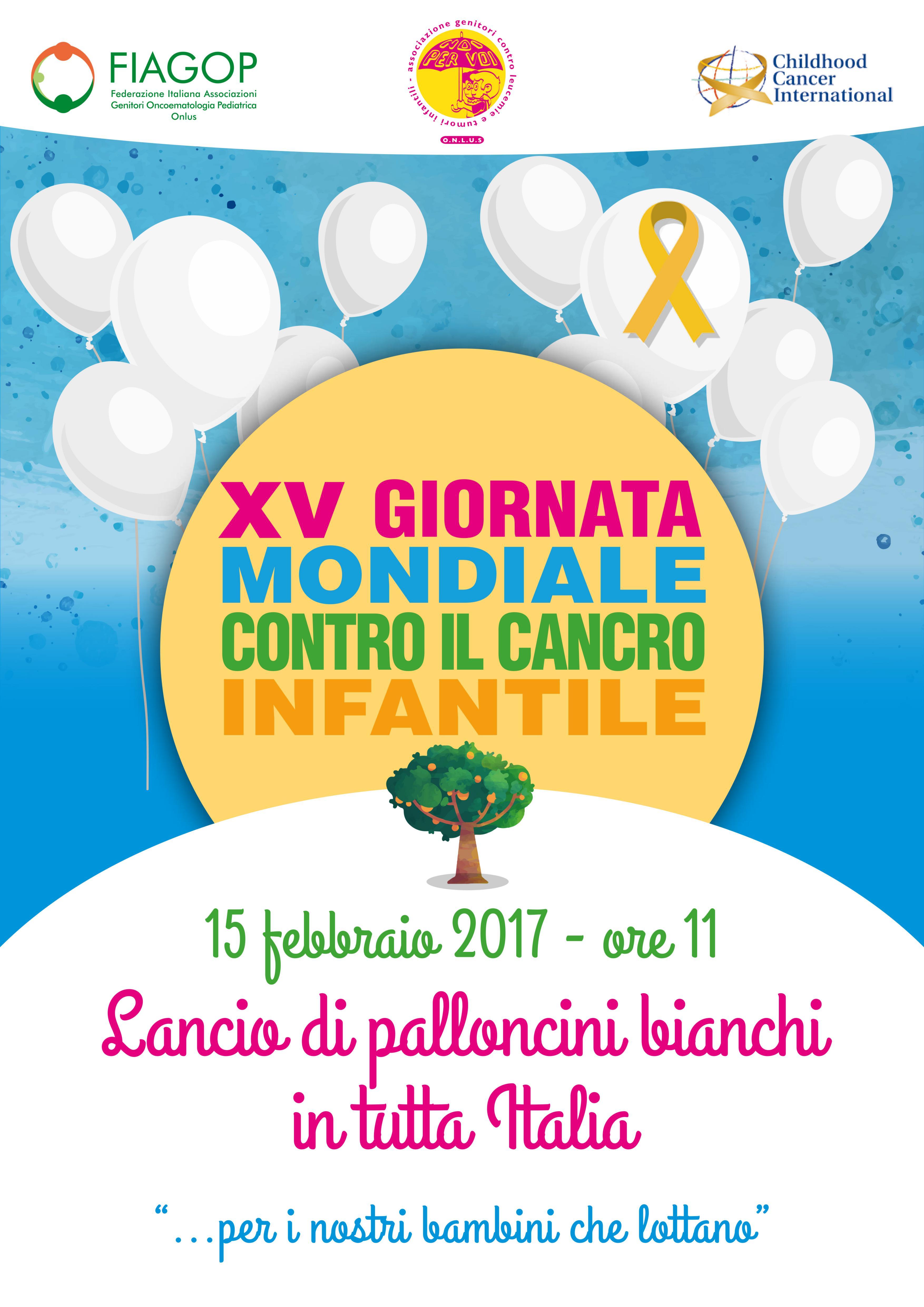 lancio palloncini XV giornata mondiale contro il Cancro Infantile