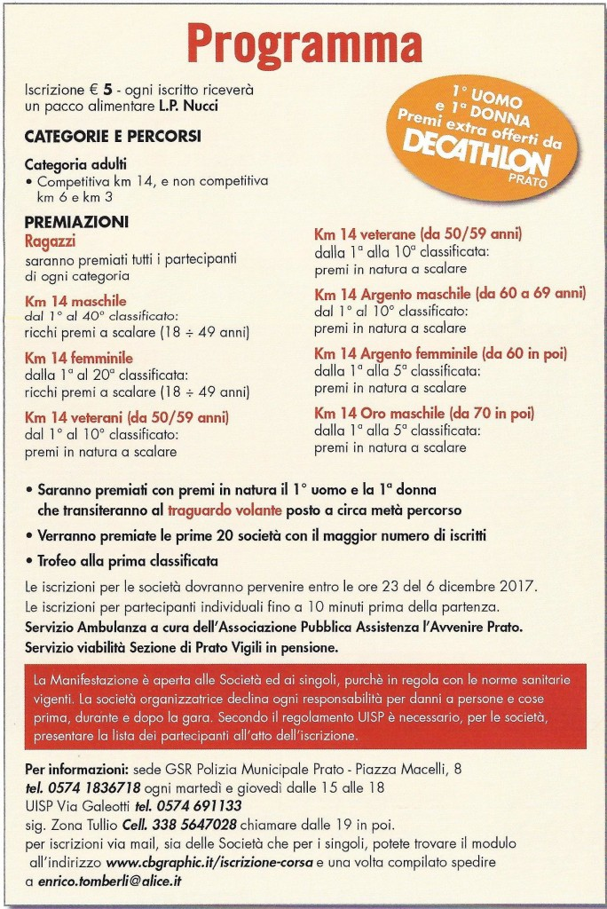 Corsa podistica Prato-Programma