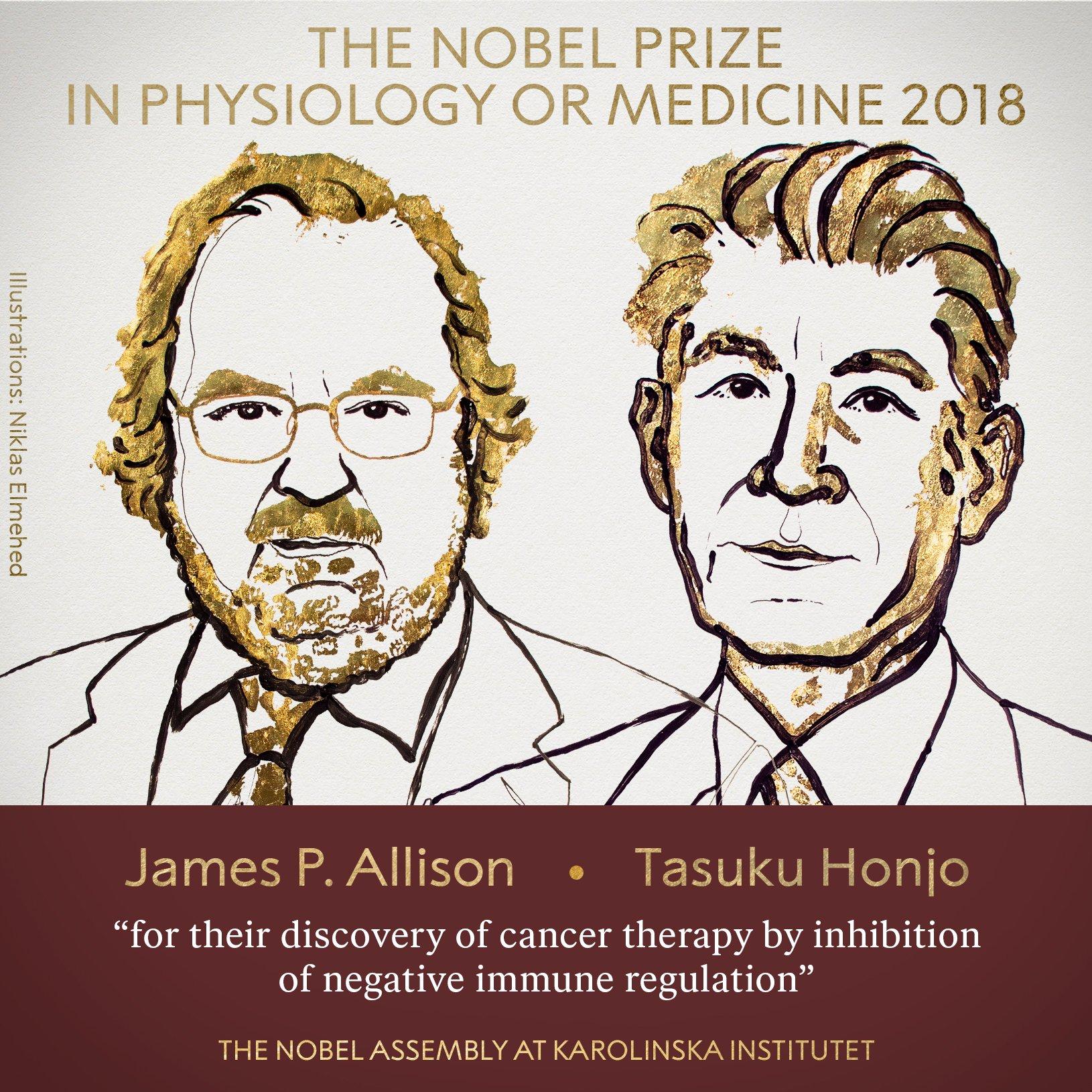 premiati con il Nobel per la medicina nel 2018